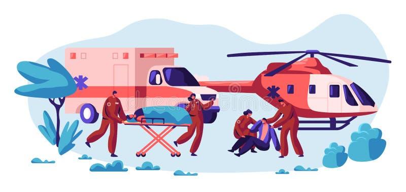 专业救援队关心您的生活 从事故的快速的运输、直升机和车医疗保健字符 皇族释放例证