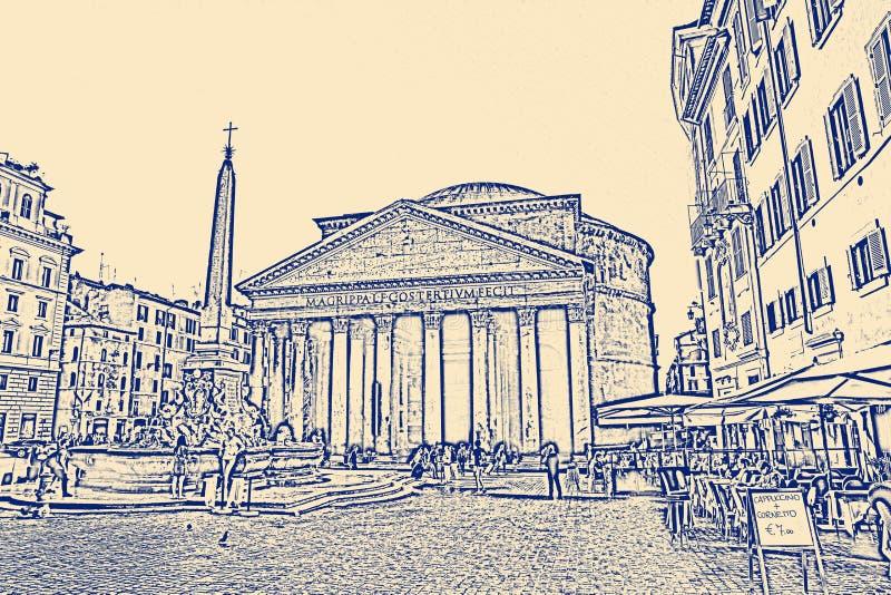 万神殿一个前罗马寺庙,现在一个教会,在罗马,意大利 皇族释放例证