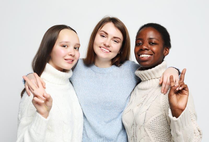 三个多种族,非裔美国人和欧洲女孩特写镜头画象  库存图片