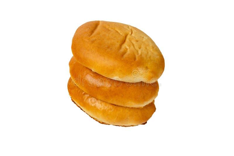 三个小馅饼在彼此在白色背景说谎隔绝了 免版税图库摄影