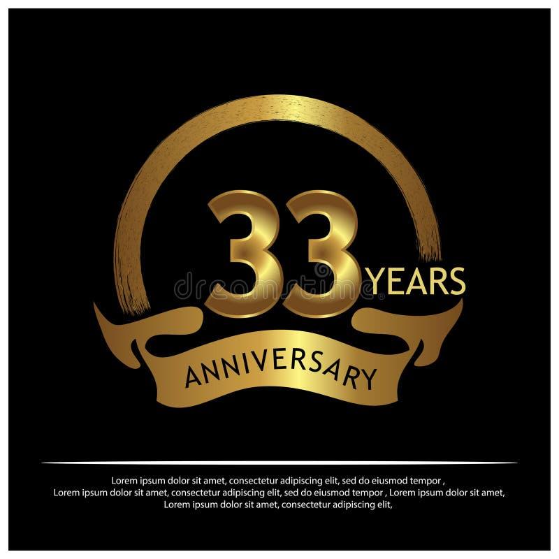 三十三年金黄的周年 周年网的,比赛,创造性的海报,小册子,传单,飞行物,magazi模板设计 向量例证