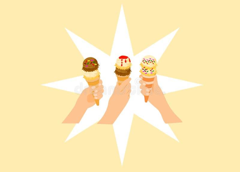 三名妇女的手阻止冰淇淋 库存例证