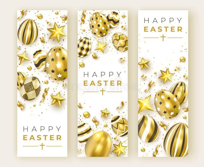三副复活节垂直的横幅用现实金黄装饰的鸡蛋、丝带、星和五颜六色的球 看板卡复活节 皇族释放例证