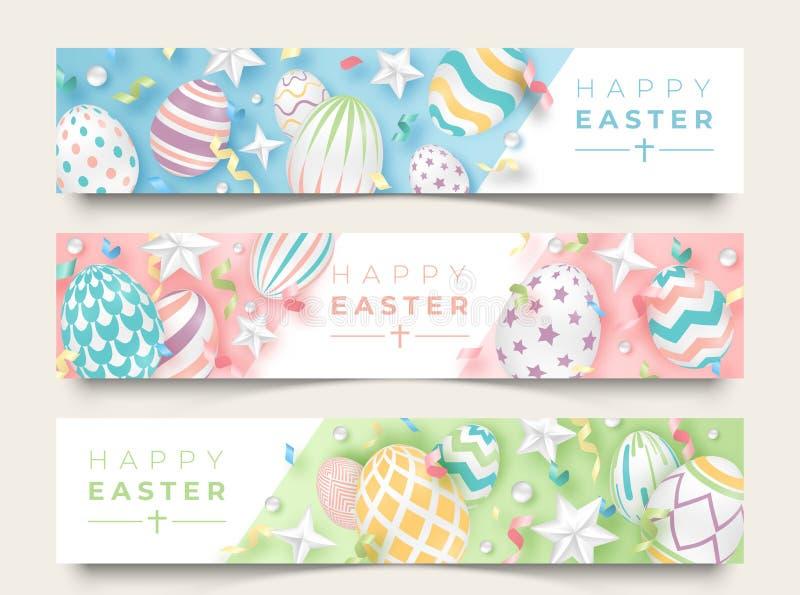 三副复活节水平的横幅用现实装饰的鸡蛋、丝带、星和球 在软的颜色的例证 库存例证