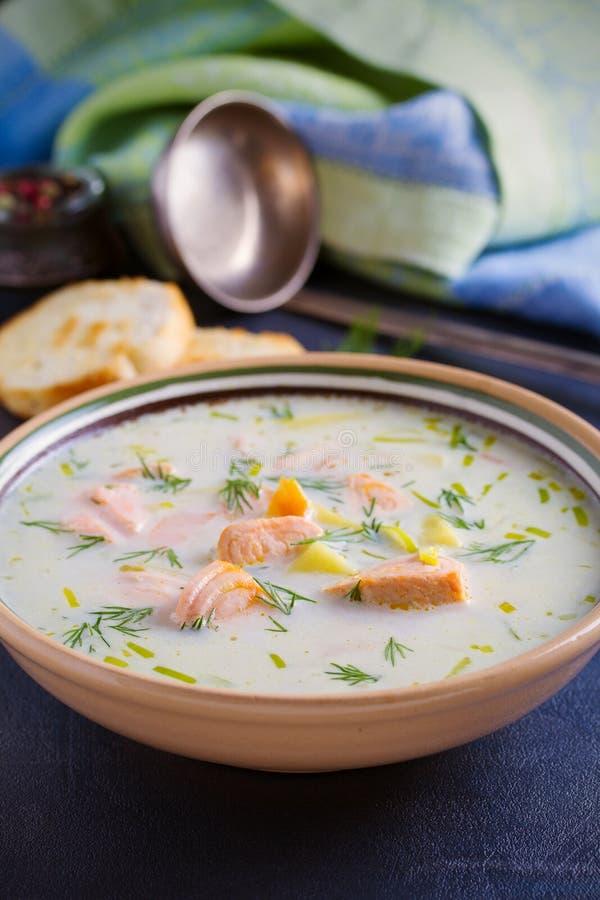三文鱼汤 在碗的乳脂状的三文鱼鱼汤 图库摄影
