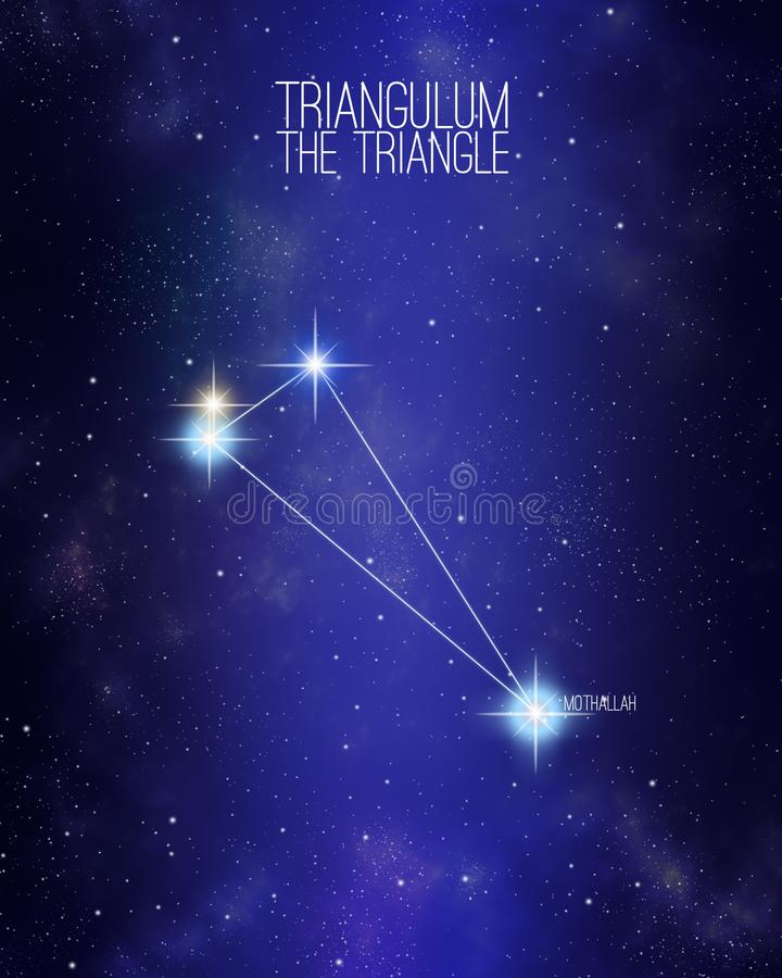 三角星座在满天星斗的空间背景的三角星座与它的主要星的名字 相对大小和不同 库存例证