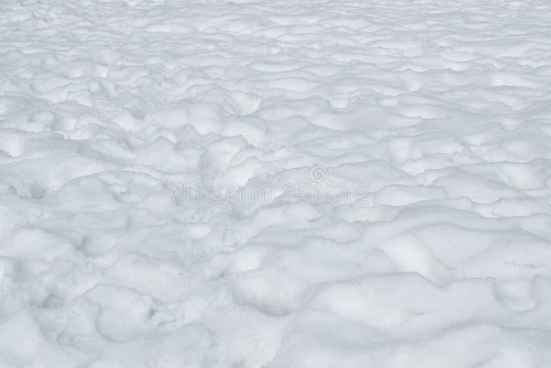下跌在地面的雪纹理在冬天在北海道日本 库存照片
