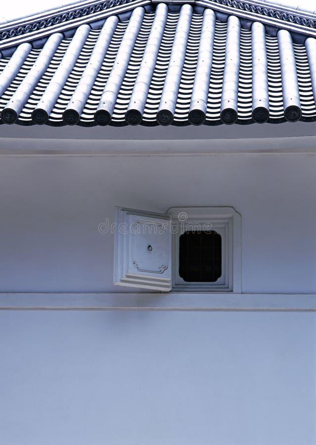 一个与蓝色瓦屋顶的小日本窗口细节 免版税库存照片