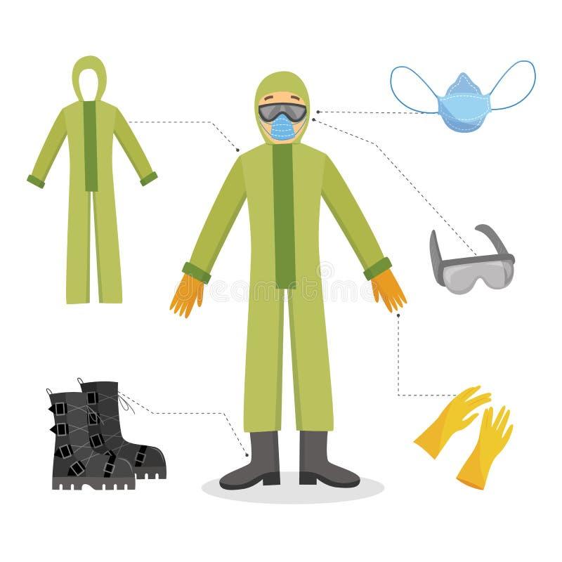 一个人和一名工作者化工防护服装的有手套、风镜、面具和起动的 库存例证