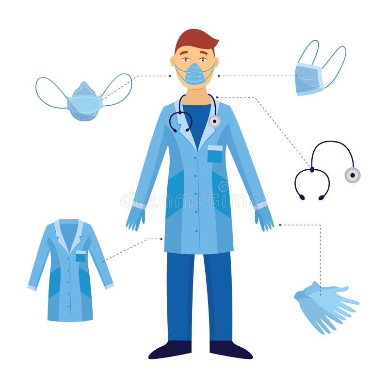 一个人和医生和他的医疗安全设备 库存例证
