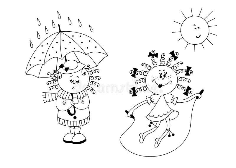 一个女孩是哀伤的在一把伞下在雨中,另一个女孩跳与绳索在太阳下 库存照片