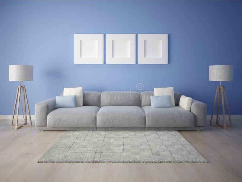 一个宽敞客厅的嘲笑有一个大时髦的沙发的 库存例证