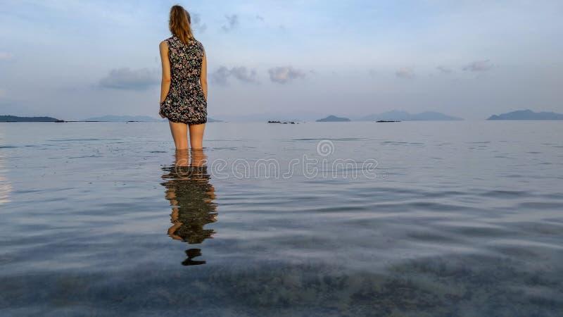 一个少女身分在一个浅水区的热带海 免版税库存图片