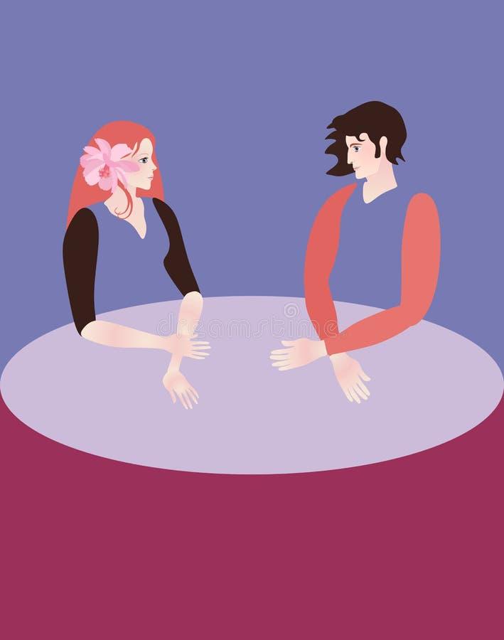 一个少年女孩和少年男孩看看印象深刻彼此,坐在大圆桌上 第一爱人 心理学 向量例证