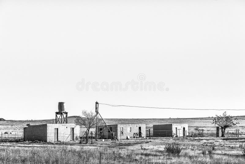 一个农场的农厂工人房子在布隆方丹附近 单色 免版税库存图片