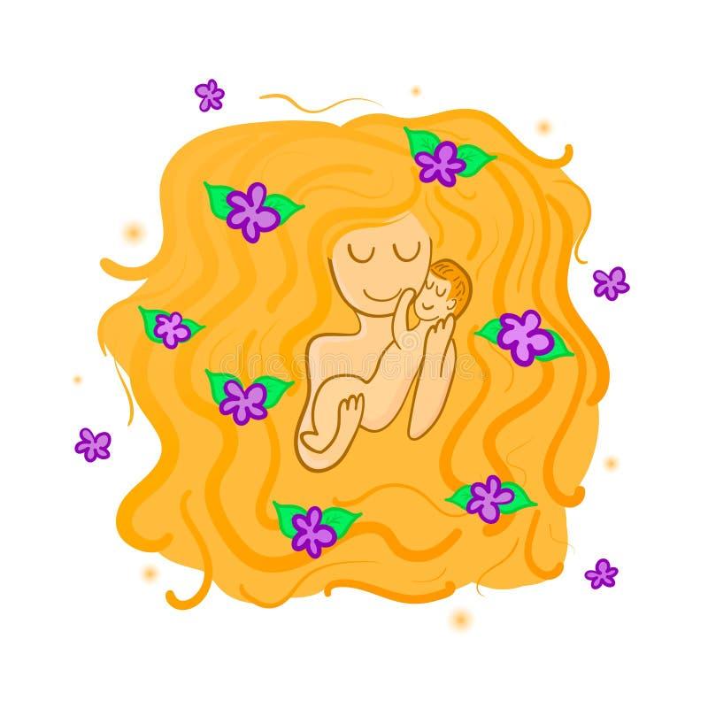 一个母亲的例证有花的在她的头发和婴孩,象征爱和柔软 贺卡为母亲节cel 免版税库存图片