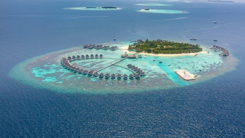 一个热带海岛的鸟瞰图在绿松石水中 在热带海岛度假村马尔代夫的豪华过水别墅 图库摄影