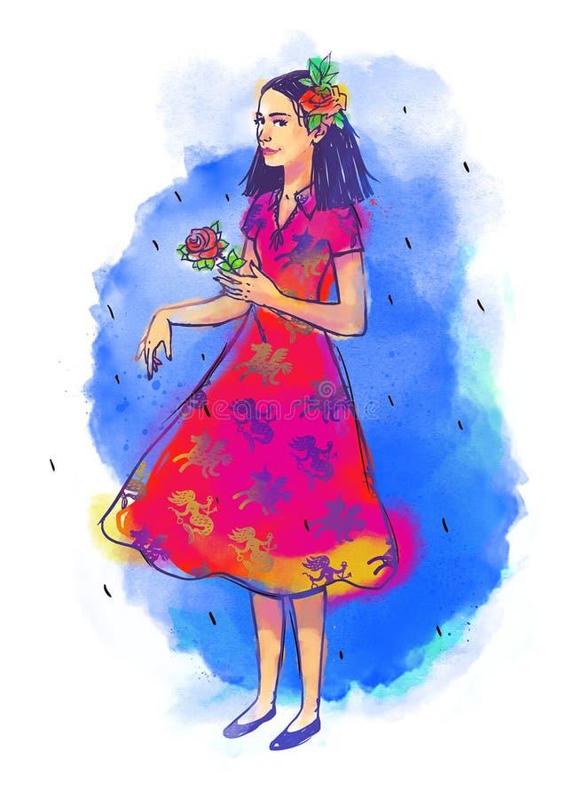 一个逗人喜爱的女孩的例证 被绘的水彩俏丽的女孩 图象在白色背景被隔绝 明信片的女孩, 皇族释放例证