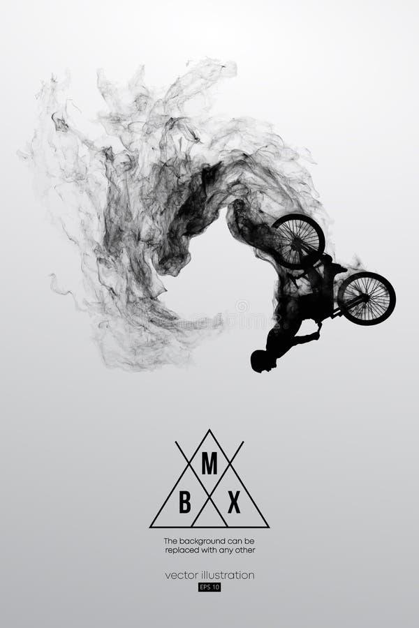 一个bmx车手的抽象剪影在白色背景从微粒,尘土Bmx车手的跳跃并且执行把戏