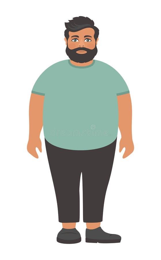 一件大绿色T恤杉的哀伤的有胡子的肥胖人 库存例证