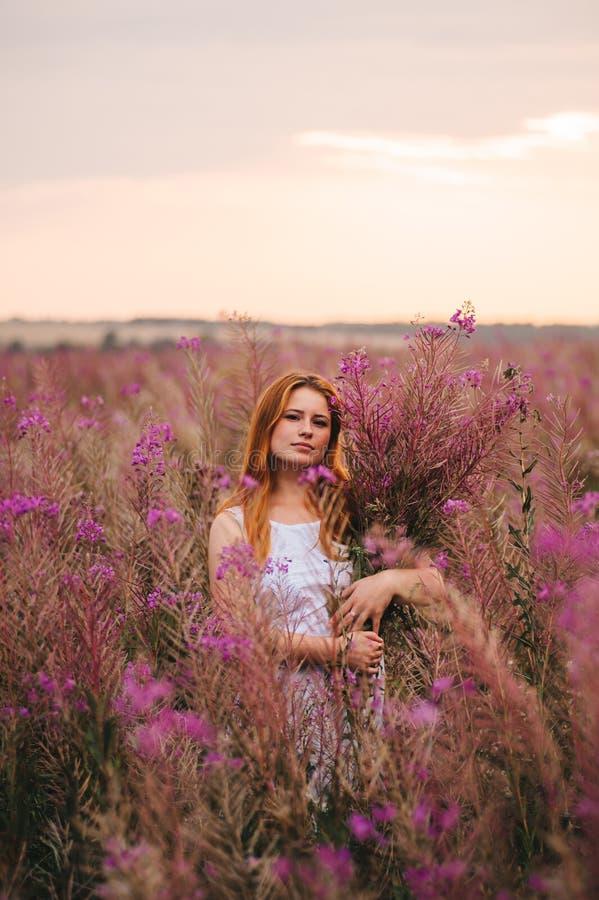 一件礼服的美丽的红发女孩在杨柳茶的一块花田 免版税库存照片