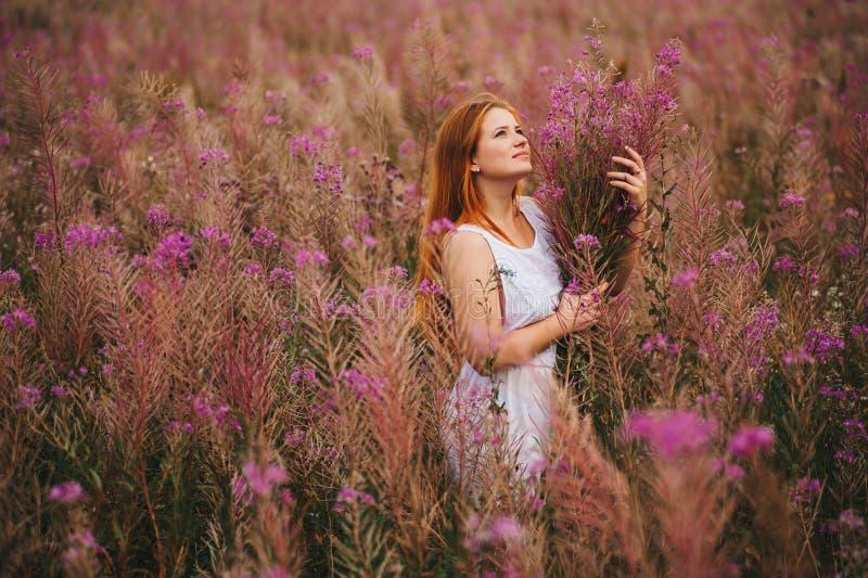 一件礼服的美丽的红发女孩在杨柳茶的一块花田 图库摄影
