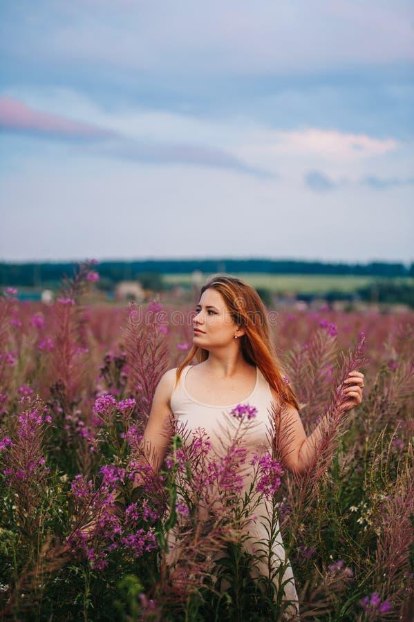 一件礼服的美丽的红发女孩在杨柳茶的一块花田 库存图片