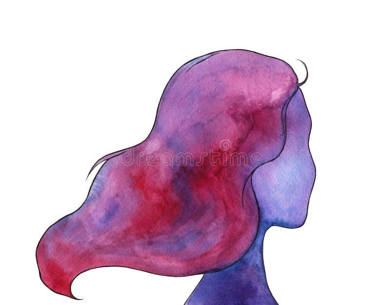 一名半被转动的妇女,与水彩梯度,在紫色伽玛的明亮的手拉的例证的女性形状 向量例证