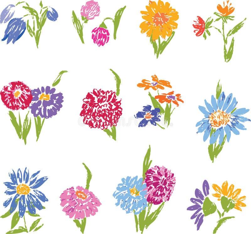 一套不同的花剪影  向量例证