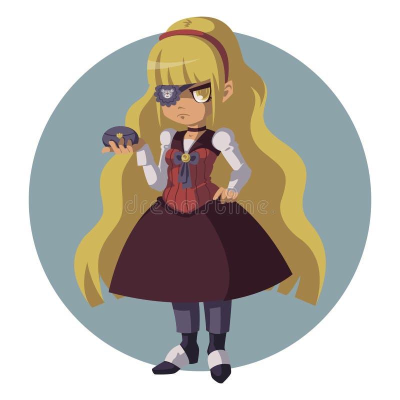 一套减速火箭的衣服的阴沉的白肤金发的女孩 steampunk衣服的妇女 皇族释放例证