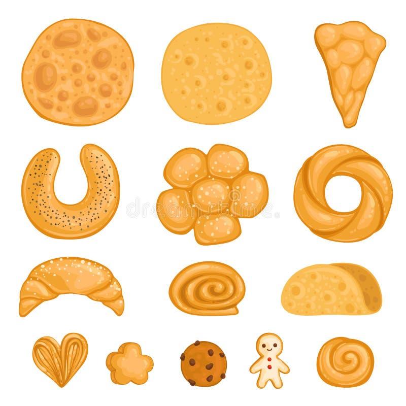 一套焙烤食品肉菜饭,面卷饼,百吉卷,姜饼,新月形面包,卷,巧克力饼干 也corel凹道例证向量 向量例证