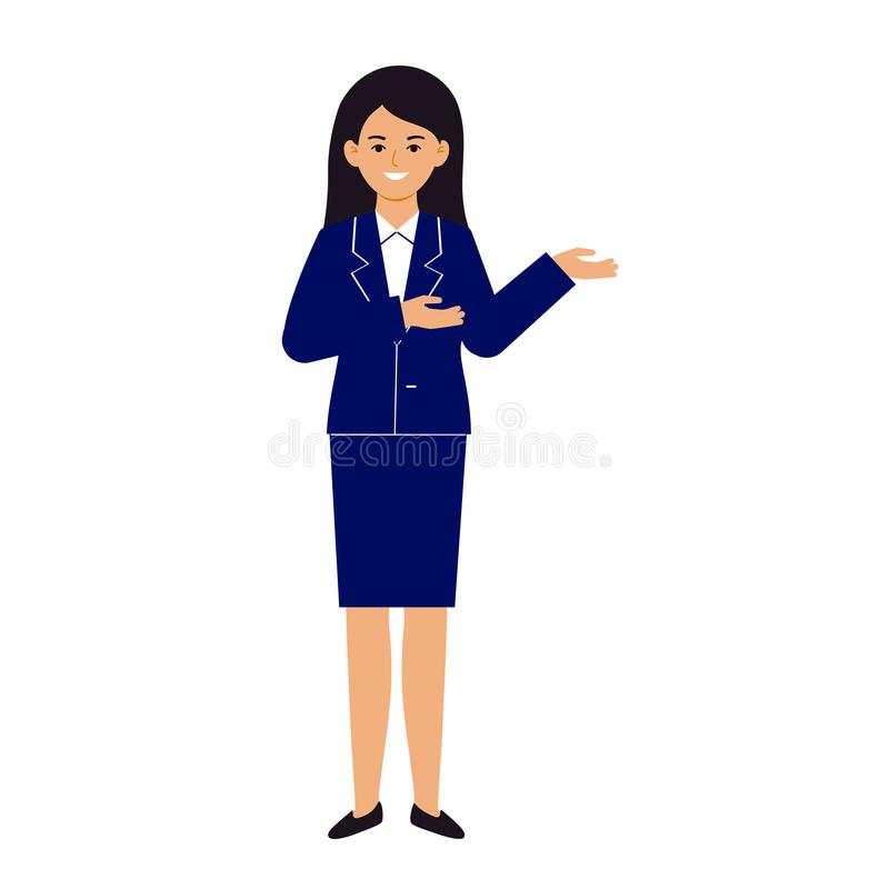 一年轻女人、一个女孩衣服的和白色衬衫站立指向用她的手某事 字符和蔼可亲地微笑 库存例证