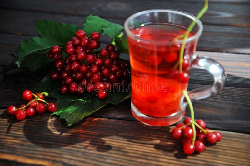 一棵荚莲属的植物的莓果木表面上的 从荚莲属的植物的饮料 免版税库存图片
