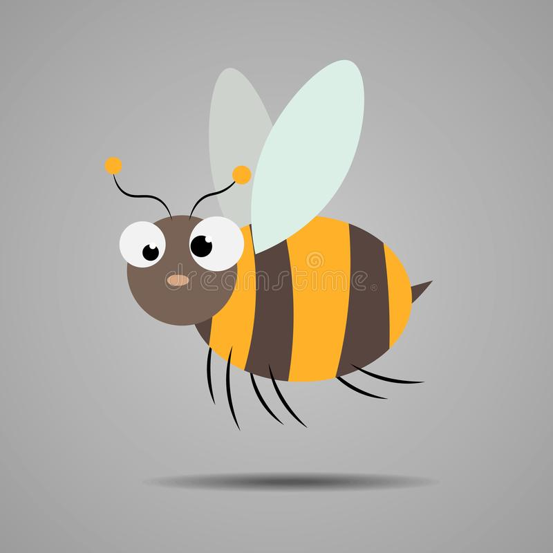 一次友好的逗人喜爱的动画片蜂飞行的例证 向量例证