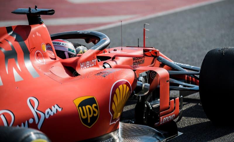 一级方程式赛车测试天2019年-查尔斯Leclerc 免版税库存图片