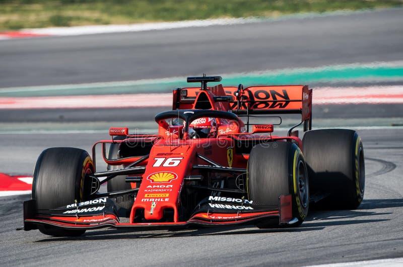一级方程式赛车测试天2019年-查尔斯Leclerc 库存图片