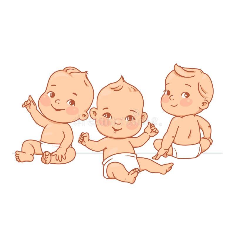 一起坐的尿布的逗人喜爱的矮小的婴孩 皇族释放例证