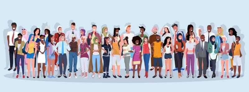 一起站立在蓝色背景男女工作者的混合种族人小组另外职业全长 库存例证