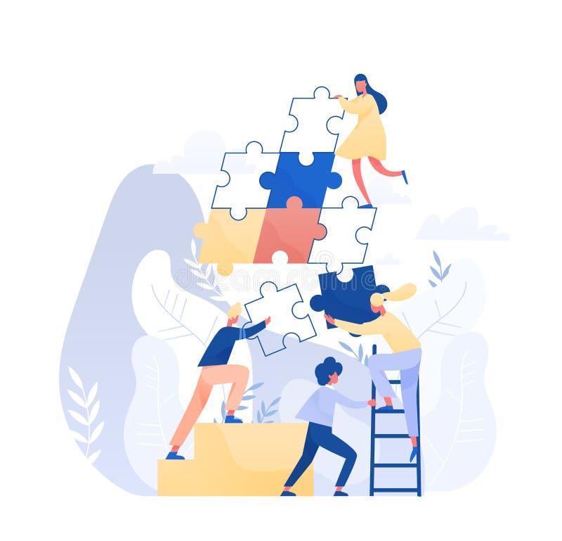 一起装配巨型拼图片断的小组微小的办公室工作者或雇员 配合,事务的概念 库存例证