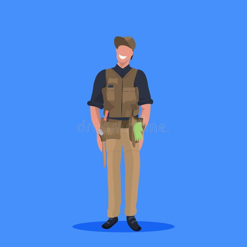 一致的动画片的男性大师或安装工技工修理服务工作者专业职业概念愉快的人 向量例证