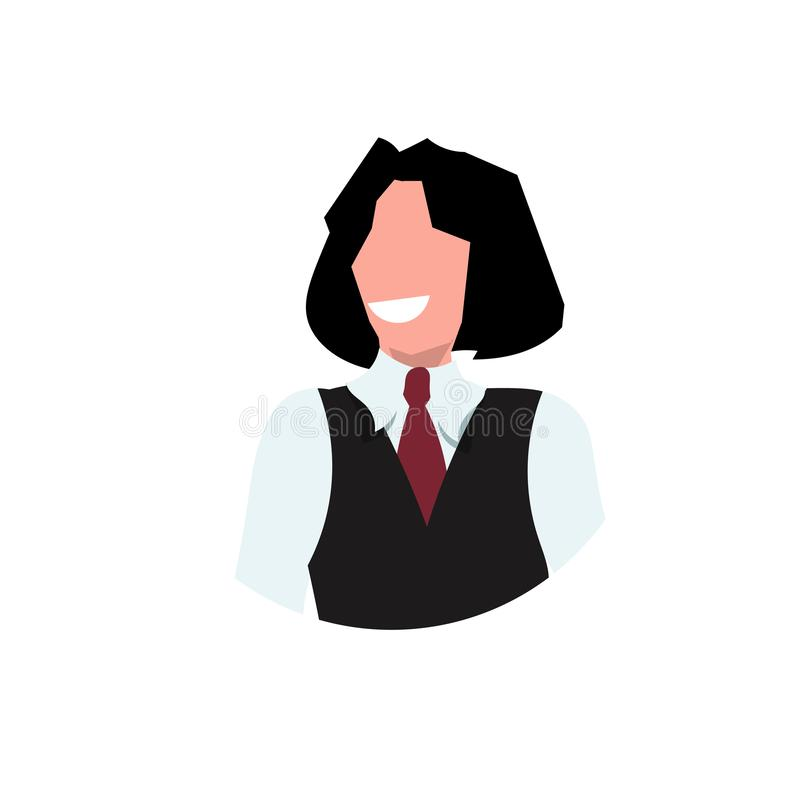 一致的面孔具体化餐馆职员专业职业概念女性动画片的职业妇女女服务员 皇族释放例证