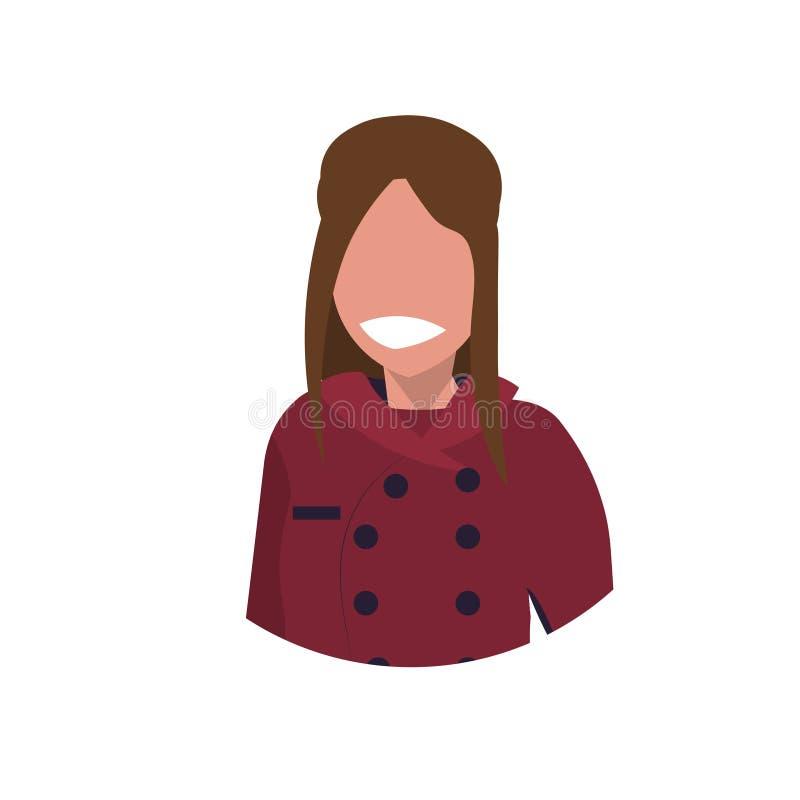 一致的食物的女性厨师厨师面孔具体化妇女烹调专业职业概念餐馆厨房工作者的 向量例证