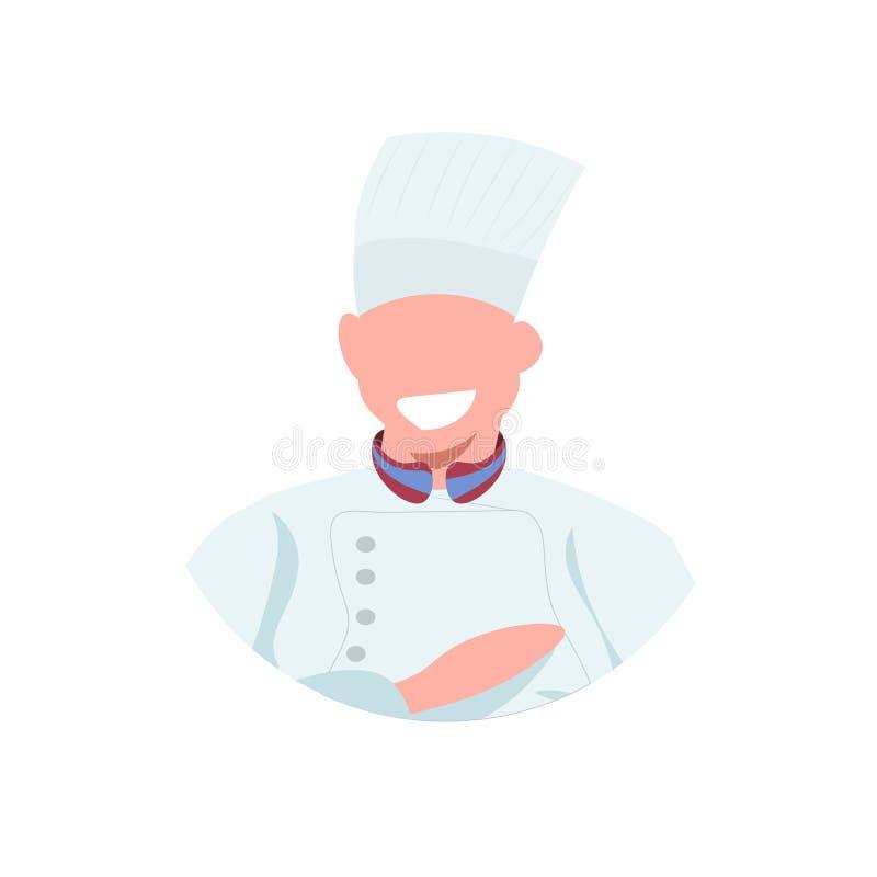 一致的食物的男性厨师厨师面孔具体化人烹调专业职业概念餐馆厨房工作者的 库存例证