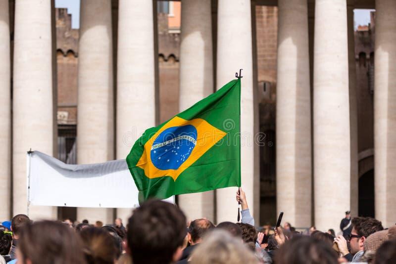 一面巴西旗子 免版税库存照片