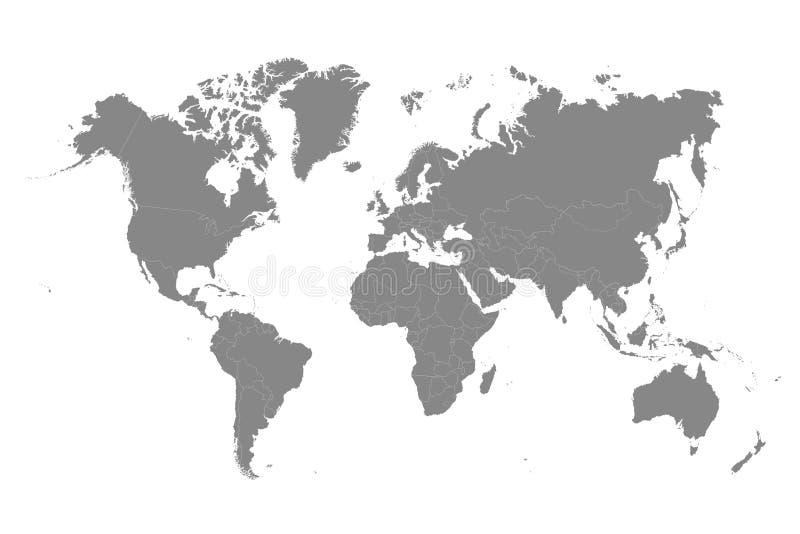 世界地图单音颜色高细节分离了所有国家 皇族释放例证
