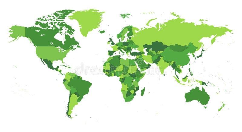 世界地图分开的国家 库存例证