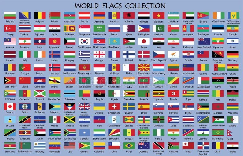 世界旗子汇集 向量例证