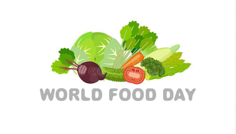 世界粮食日食物天 素食食物 平面 向量例证