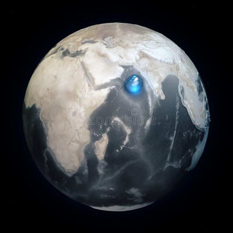 世界的地图没有水的 地球上的所有水在一个地方 水球形 气候变化,全球性变暖 物理世界 皇族释放例证