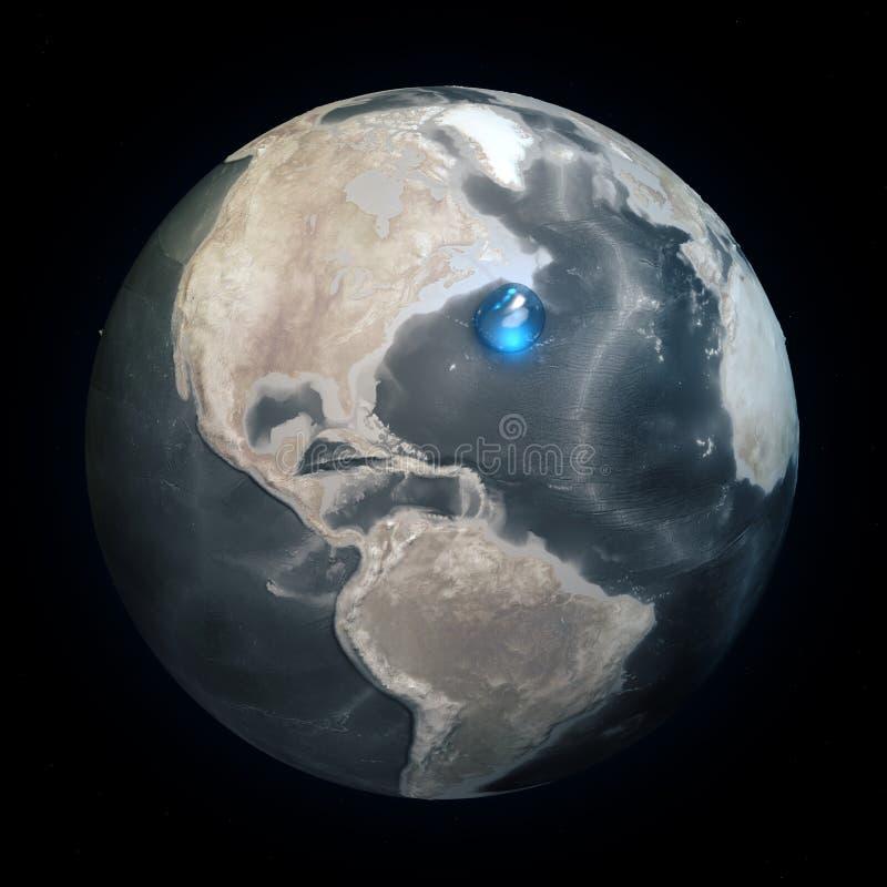 世界的地图没有水的 地球上的所有水在一个地方 水球形 气候变化,全球性变暖 物理世界 向量例证